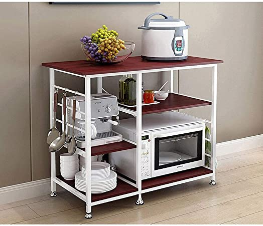 visdron 3-Tier Multifunctional Kitchen Rack Microwave Stand Oven Floor Shelf Storage Cupboard,Baker's Rack,Spice Rack Organizer Workstation 35.5 x 15.8 x 32.7 in
