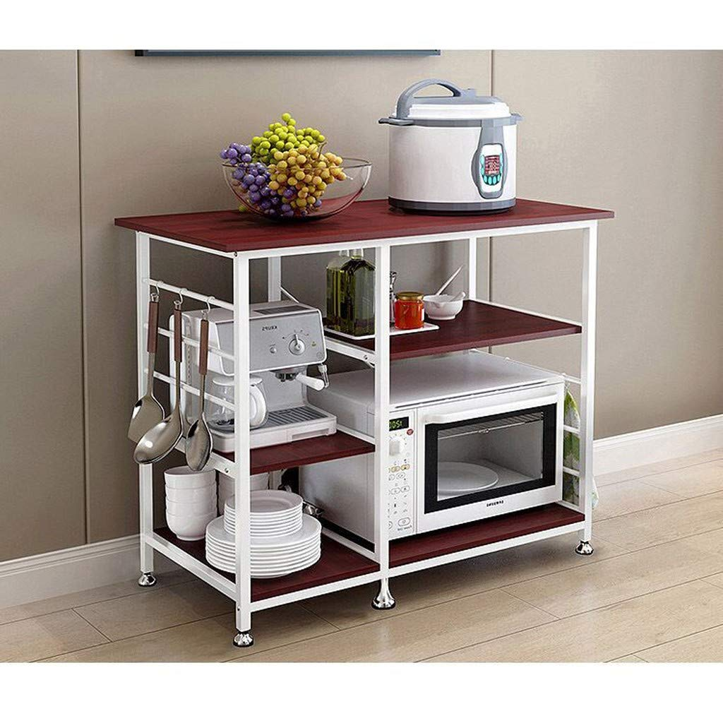 Nesee 3-Tier+3-Tier Microwave Stand 35'' Kitchen Utility Cart Storage Rack for Oven Baker Spice Home Organizer Workstation Shelf(Ship from US)