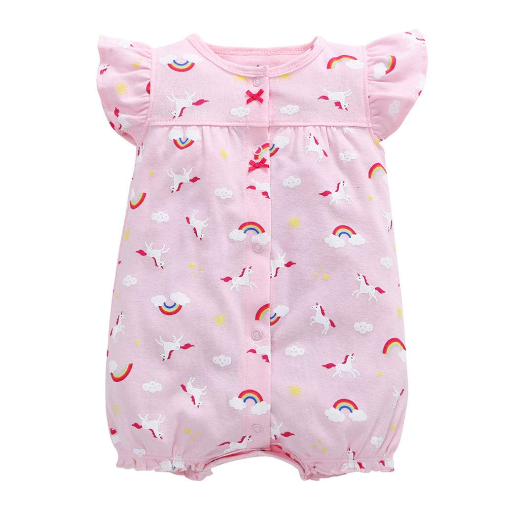 NUWFOR Baby Infant Girl Boy One-Pieces Cartoon Striped Printed Romper Bodysuit Clothes(Pink,0-6 Months)