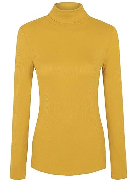 Islander Fashions para Mujer Polo Acanalado Polo Cuello Alto ...