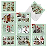 M10013XS Merry Mail: 10 Assorted Christmas Note Cards Feature Images of Winter and Holiday Scenes from Vintage Postcards,w/White Envelopes.
