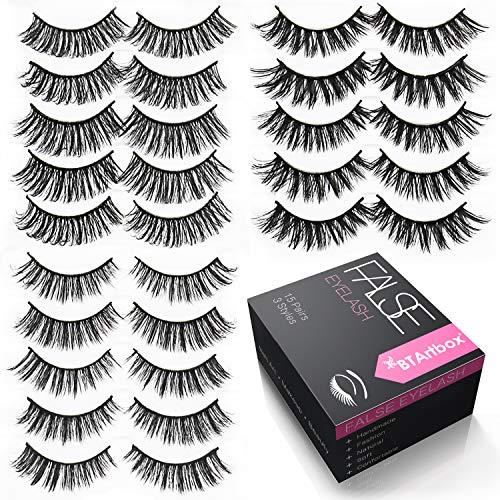Handmade False Eyelashes Set - 15 Pairs 3 Styles Fake Eyelashes Pack BTArtbox 3D Reuseable Natural Soft Eyes Lashes, J-03 -