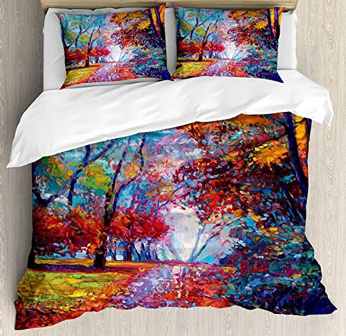 Country 4 Piece Bedding Set King Size, Colorful Fairy Paint of Park in Fall Arts View of The Earth and Trees in The Nature Art,Duvet Cover Set Quilt Bedspread for Childrens/Kids/Teens/Adults