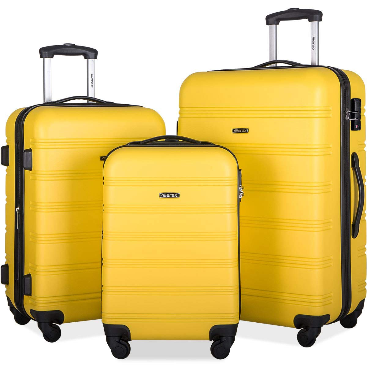 Merax Expandable Luggage Set with TSA Locks, 3 Piece Spinner Suitcase Set (yellow) by Merax