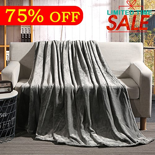 """Luxury Fleece Blanket by Shilucheng Super Soft and Warm Fuzzy Plush Lightweight Throw Couch Bed Blankets mini size 43"""" x 60"""" - Grey"""