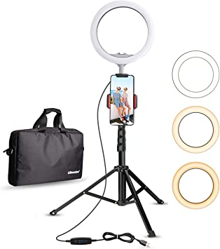 10 LED Ring Light with Tripod Stand Selfie Stick /& Cell Phone Holder Ring lamp for Live Stream YouTube Video Makeup Vlog Photography Compatible with iPhone Android