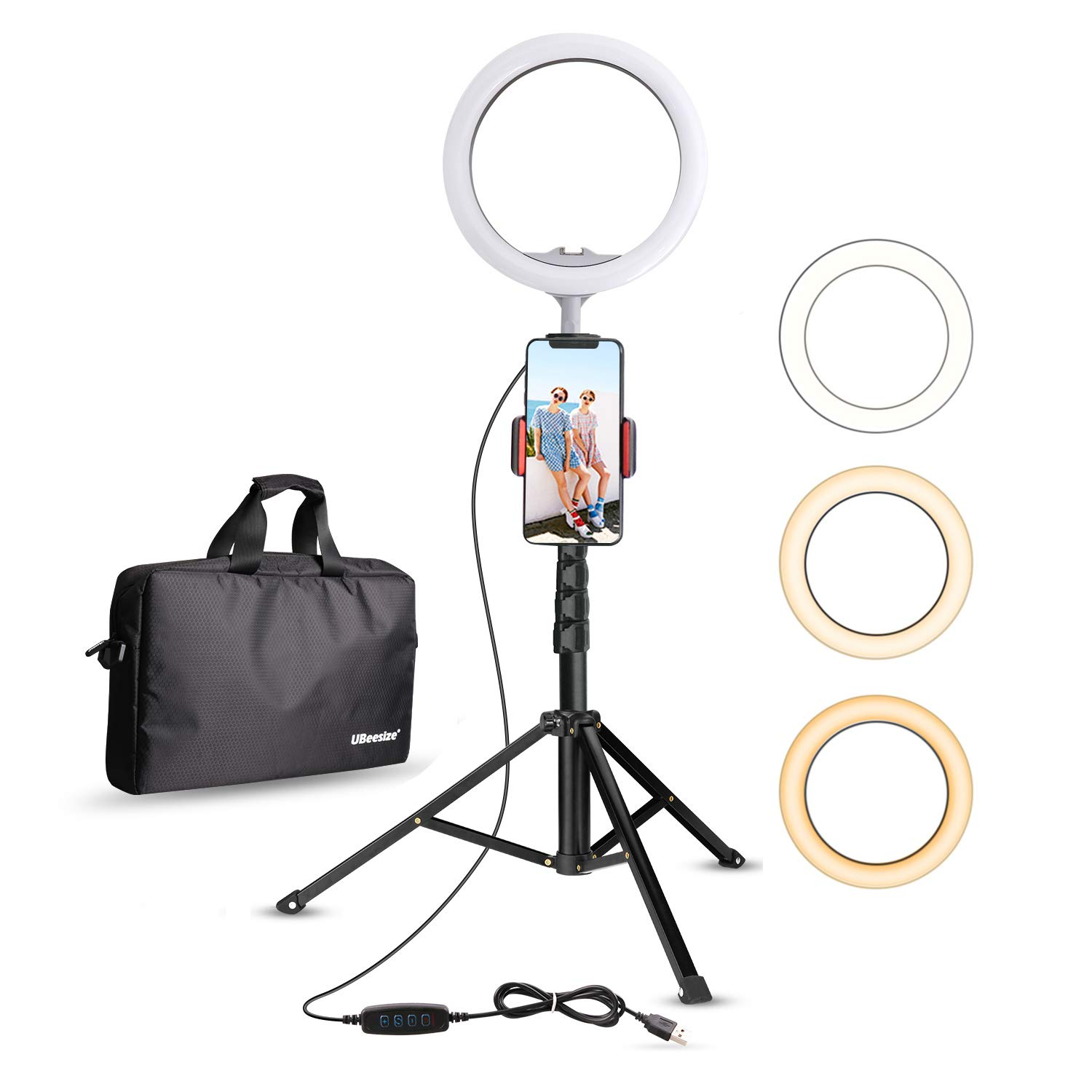UBeesize 10.2'' Selfie Ring Light with Tripod Stand & Cell Phone Holder for Live Stream/Makeup, Mini Led Camera Ringlight for YouTube Video/Photography Compatible with iPhone Android by UBeesize