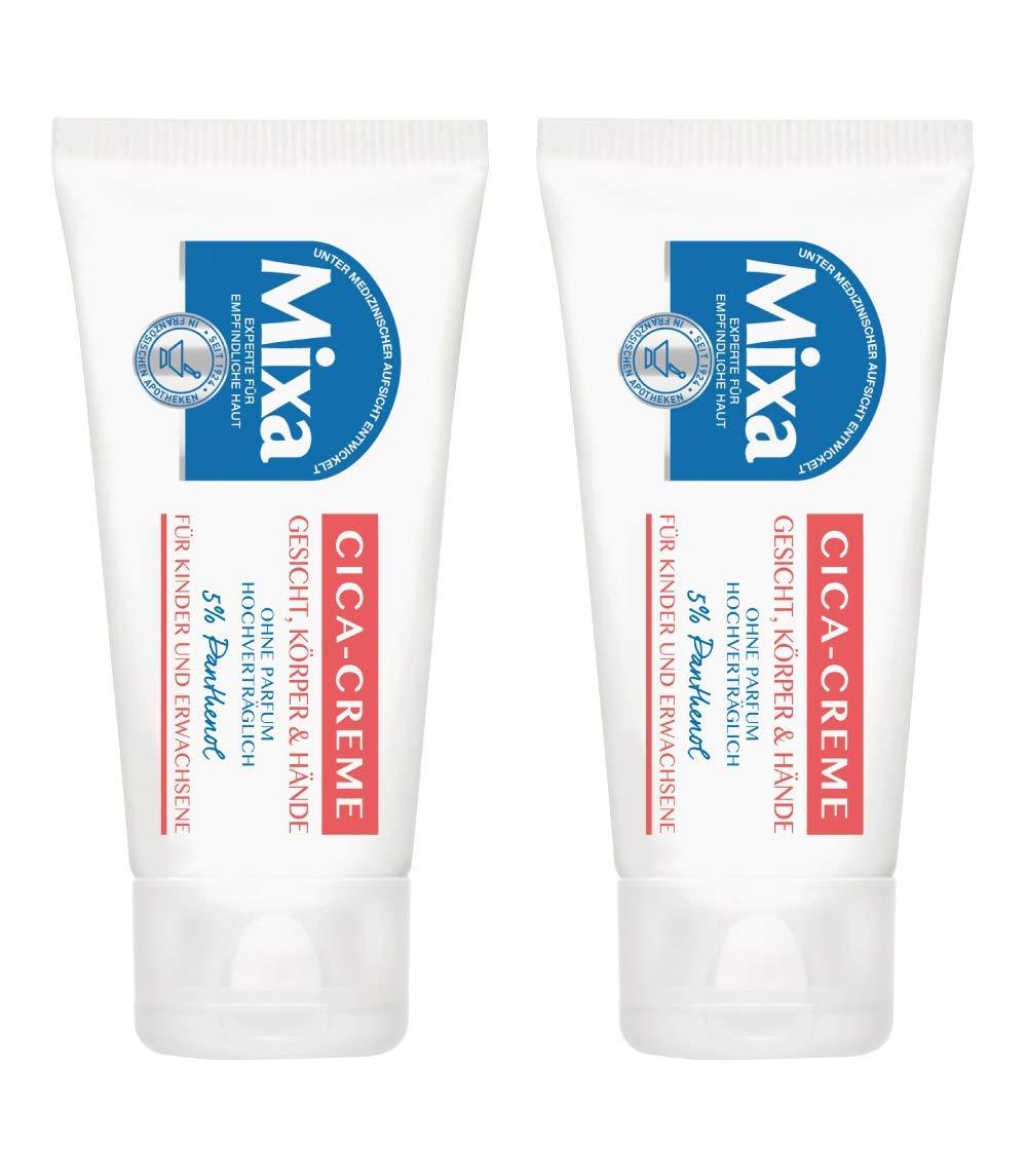 Mixa Cica-Creme Doppelpack, für empfindliche Haut, mit 5% regenerierendem Panthenol, für Gesicht, Körper und Hände, ohne Parfüm, 2er Pack (2 x 50 ml) für empfindliche Haut für Gesicht Körper und Hände ohne Parfüm