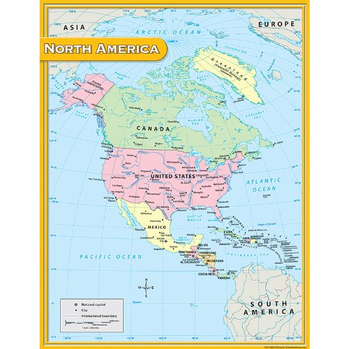 Teacher Created Resources North America Map Chart, Multi Color (7655) - North America Wall Map