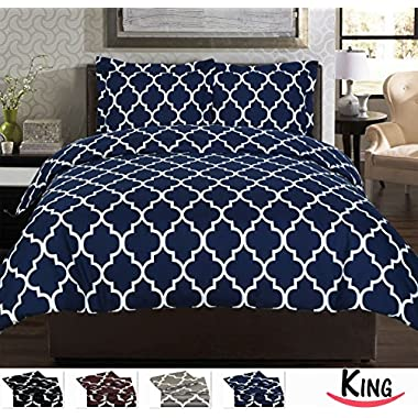 3 Piece Duvet Cover Set (King, Navy Blue) - 1 Duvet Cover + 2 Pillow Shams - Hotel Quality Brushed Velvety Microfiber - Luxurious, Comfortable, Breathable, Soft & Extremely Durable - By Utopia Bedding