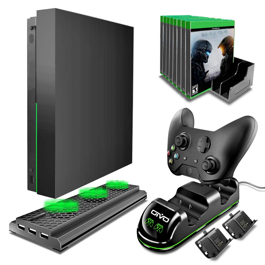 OIVO Xbox One X Accessories Kit, 4 in 1 Xbox One X Vertical Cooling Stand Cooler with Dual Controller Charger Dock Station with 2PACKS Rechargeable 600mAh Battery, 10 Games Storage by OIVO