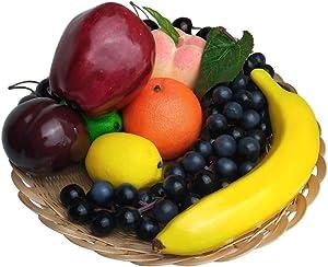 Lorigun Artificial Fruits Set for Decoration Fake Fruits Props,10 Kinds of Fruit (Total 12 Pcs)