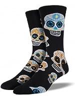 "Socksmith Mens' Novelty Crew Socks ""Big Muertos Skull"" - Black/White"