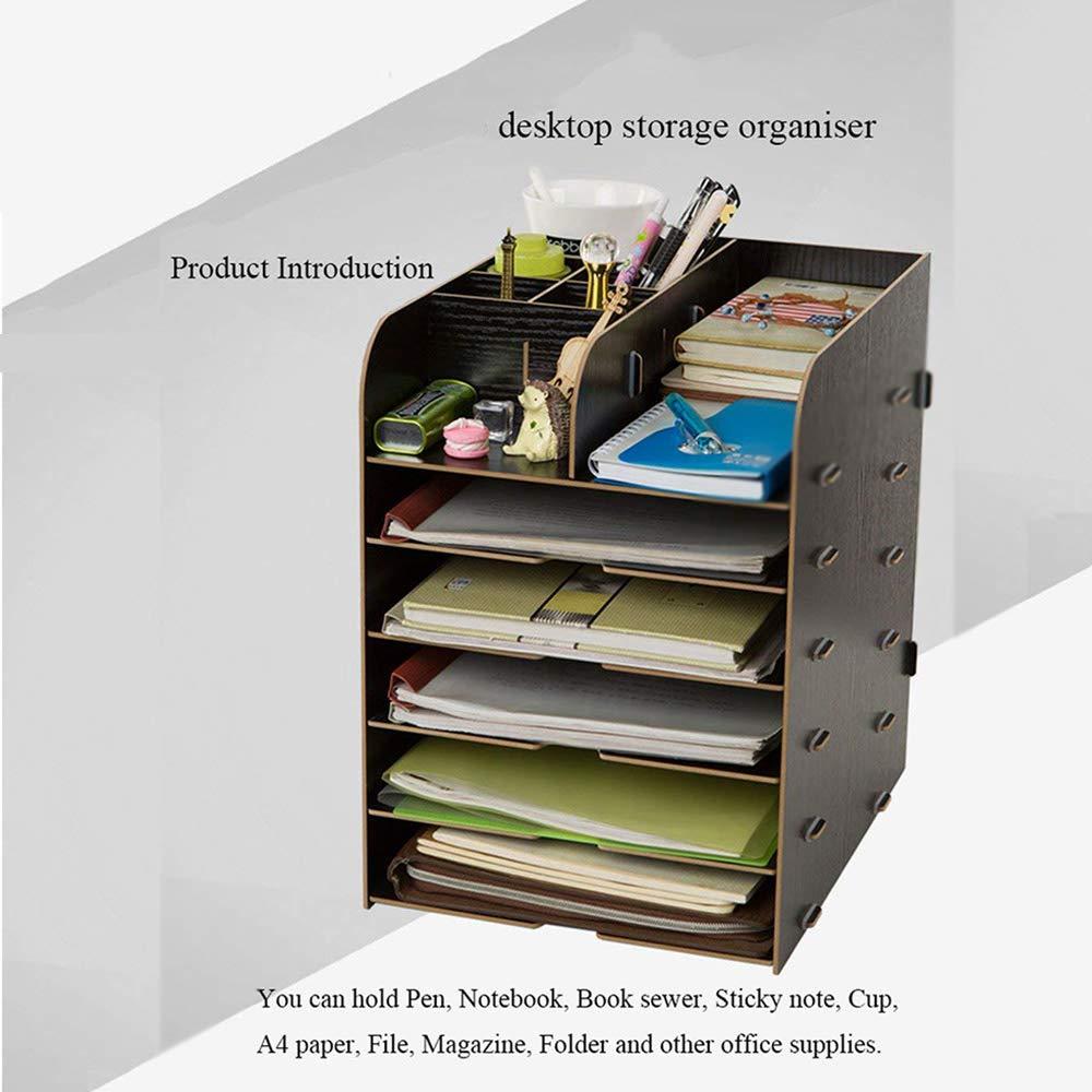 Organizador de archivos de madera, organizador de mesa, revista, bandeja de documentos, colector de documentos, organizador de oficina, ...