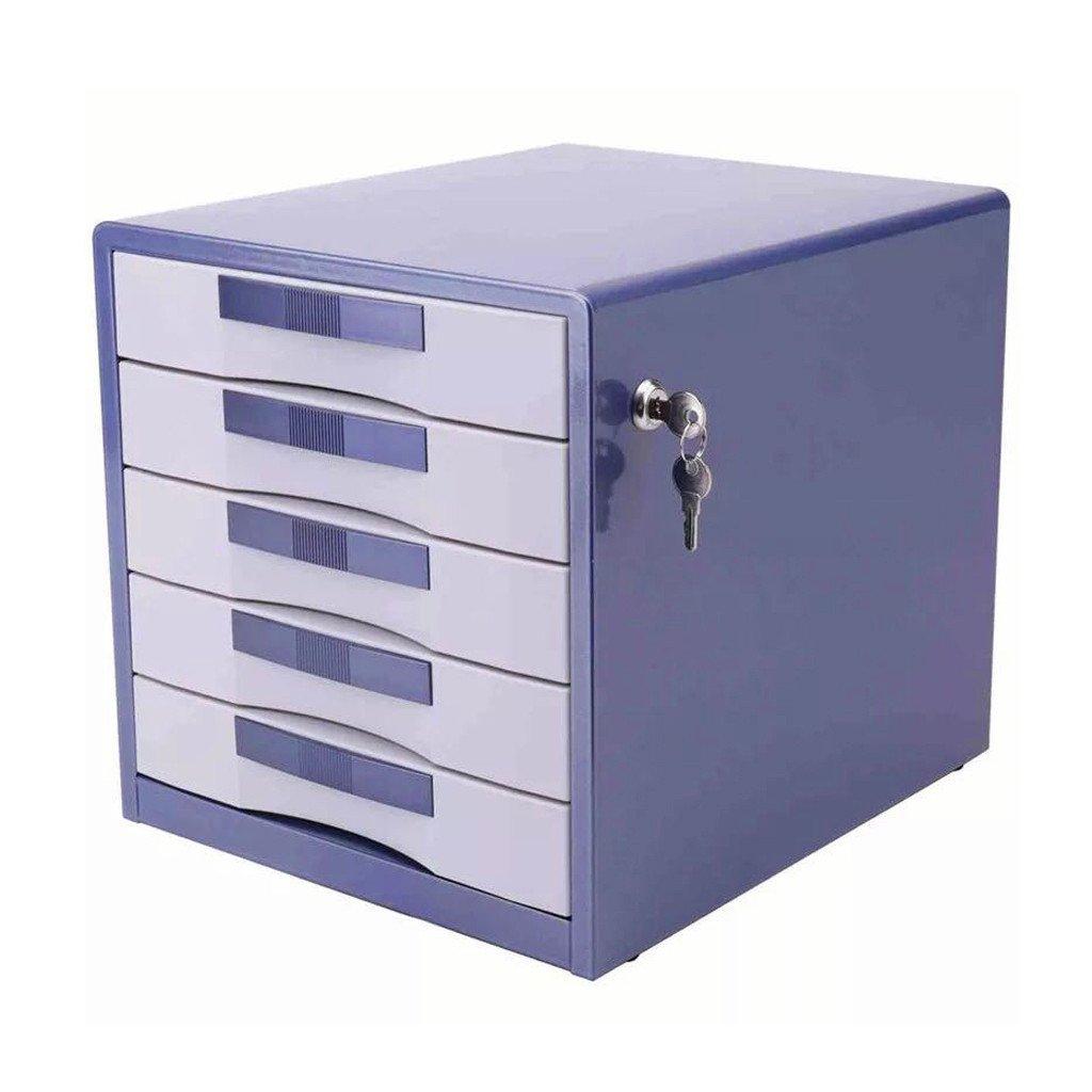Liu yu /· Espace de bureau Bleu 5 tiroirs Classeur Stock/é Verrouillage M/énage Bureau Sur le bureau A4 fer