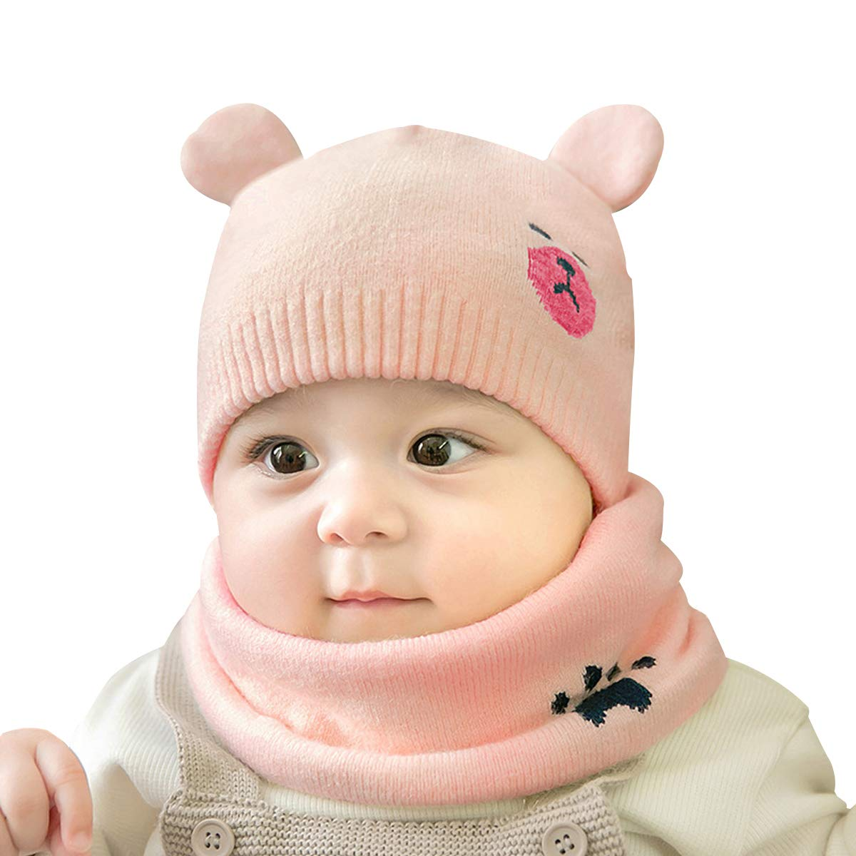 734fcdccf431b cjixnji Baby Boy Girl Cute Baby Winter Hats Scarfs Set