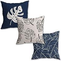 Kit 3 Capas de Almofada Floral Suede Ziper Invisível (Costela de Adão Azul + Costela Contorno Peq + Folhas - 45 x 45cm)