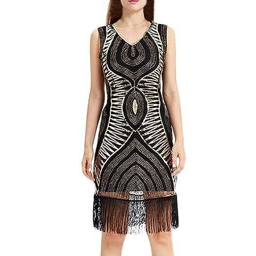 d075f84e643 Women Dresses Plus Size Summer Women Vintage 1920s Bead Fringe Sequin Lace  Party Flapper Cocktail Prom