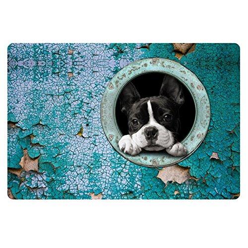 HUGS IDEA Cute Boston Terrier Entry Way Outdoor Doormat Non Slip Floor Mat for Kitchen Living Room Blue ()