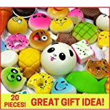 Squishies Slow Rising Squishy Toys-20pc Squishies Pack Of Jumbo, Medium & Mini Soft Panda Squishy, Cake, Buns and Donut Toys.Includes Keychain Straps.Best Cream Scented Gift Package For Boys & Girls