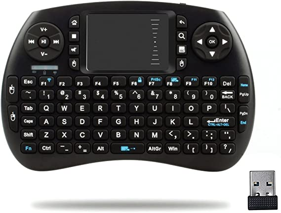 2.4G Wireless Mini Keyboard Handheld Touchpad Keyboard Mouse for PC Black CA