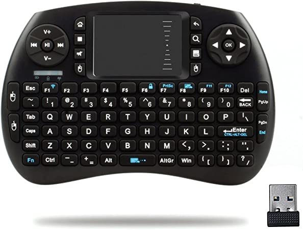 QQPOW Mini 2.4Ghz Touchpad teclado inalámbrico con ratón para Google Android Tv Box, Pc, Pad, Xbox 360, PS3, Htpc, IPTV (NEGRO)