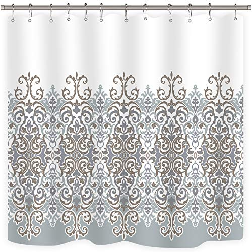 Riyidecor Tan Turquoise White Shower Curtain Set Damask Floral Flower Polyester Decor Fabric Waterproof 72x72 Inch 12 Pack Plastic Shower Hooks