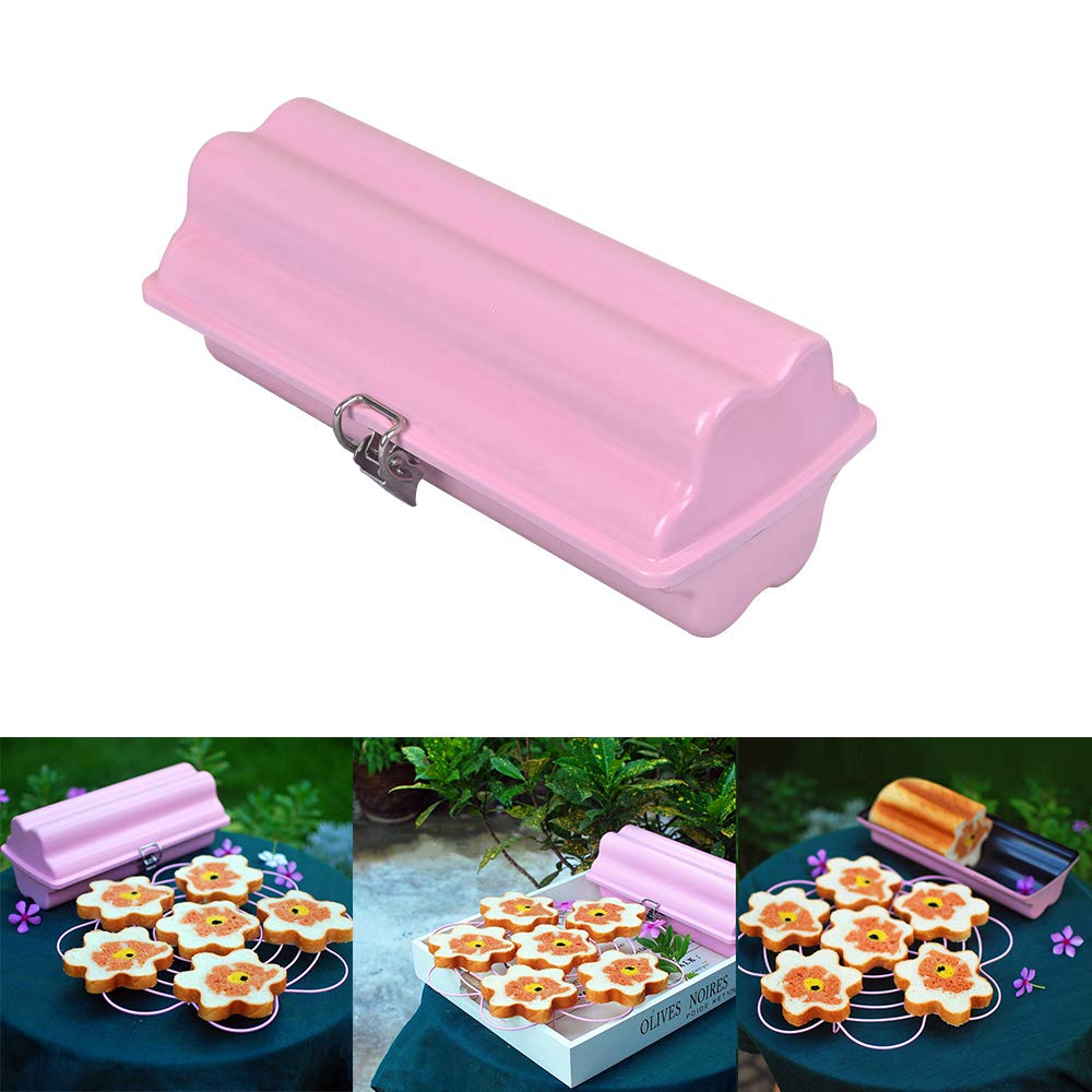 Loaf Pans with LId for Baking 1lb Bread Pan Millennial Pink Round Nonstick Stainless Steel Instant Pot Dishwasher Safe