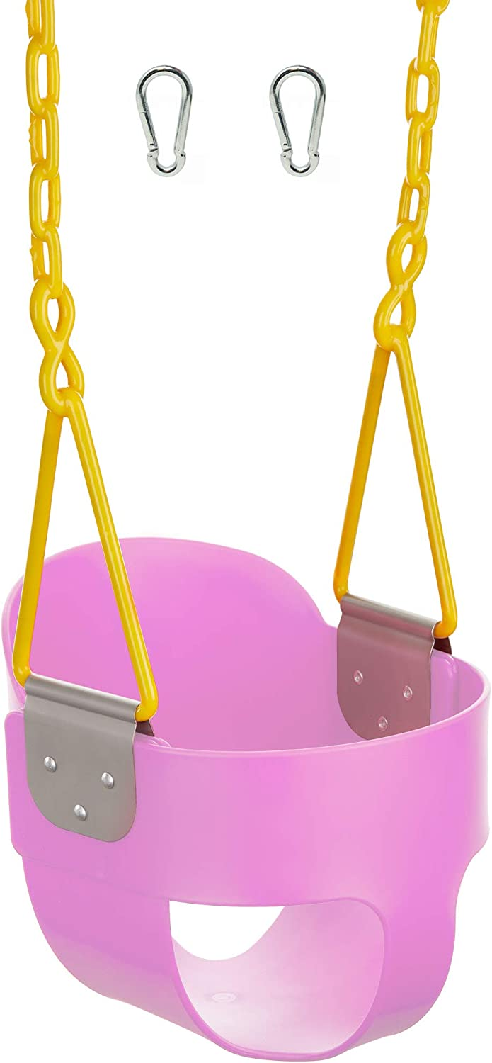 Squirrel Products High Back Full Bucket Toddler Swing with Pinch Protection Triangle and Chain Dip with Carabiners for Easy Install - Pink