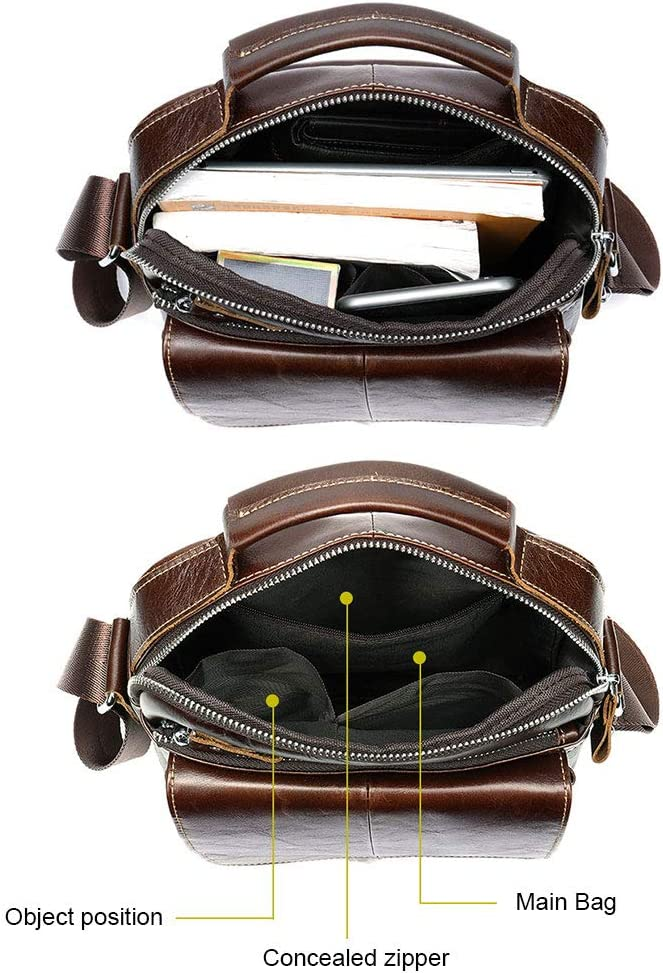 BAIGIO Mens Genuine Leather Shoulder Bag Messenger Briefcase CrossBody Handbag Satchel Travel bag