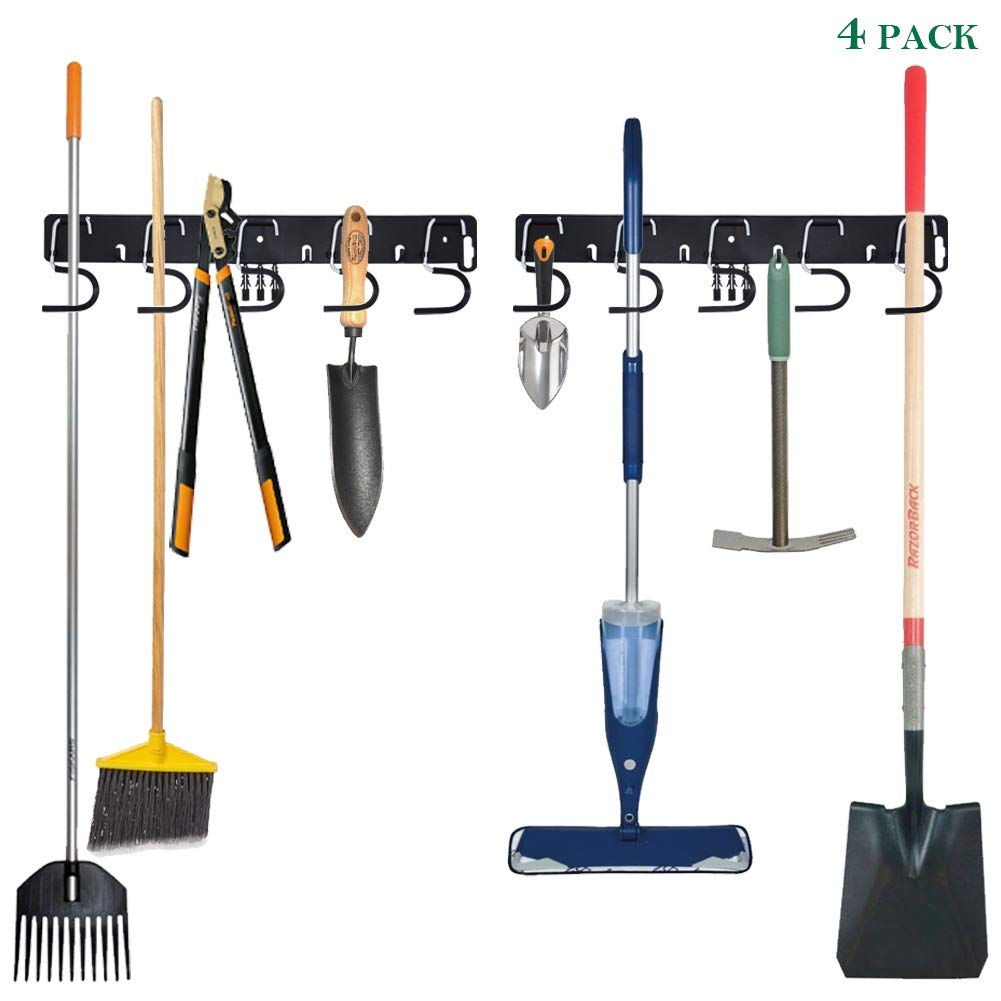 Twinkle Star Garage Tool Organizer Wall Mount, Mop Broom Holder, Wall Holders for Tools, 4 Pack by Twinkle Star