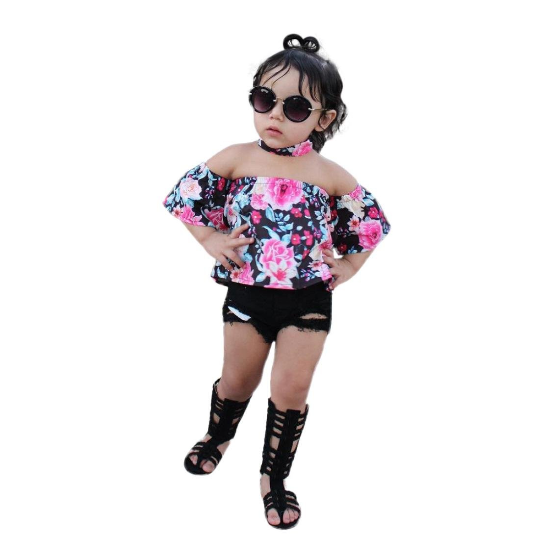 Hatoys 3PCS Toddler Kids Baby Girl Off Shoulder Tops+Demin Shorts Pants Clothes Outfits Set