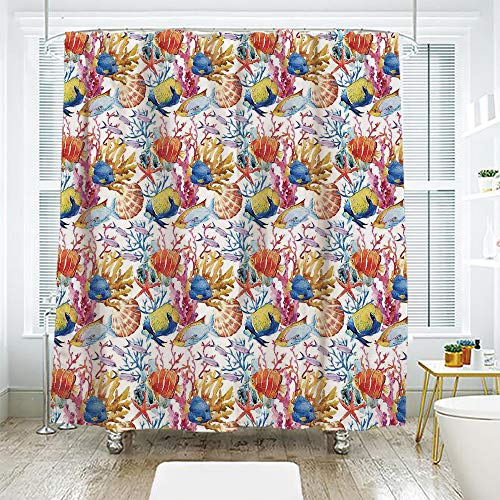 scocici Simple Creative Bath Curtain Suit Shade Curtain,Ocean Animal Decor,Coral Reef Scallop Shells Fish Figures Sea Plants Polyp Murky Nautical Decor,Multi,94.4
