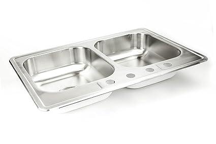 Cmi 33 x 22 x 8 drop in sink top mount self rimming 5050 split cmi 33quot x 22quot x 8quot drop in sink top mount self workwithnaturefo