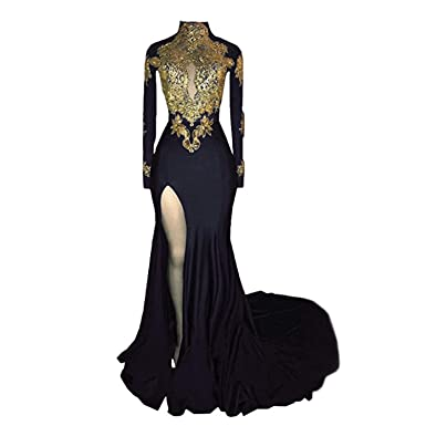 Veilace Womens Mermaid High Neck Prom Dress 2018 New Gold Appliques Long Sleeves Split Evening Gowns