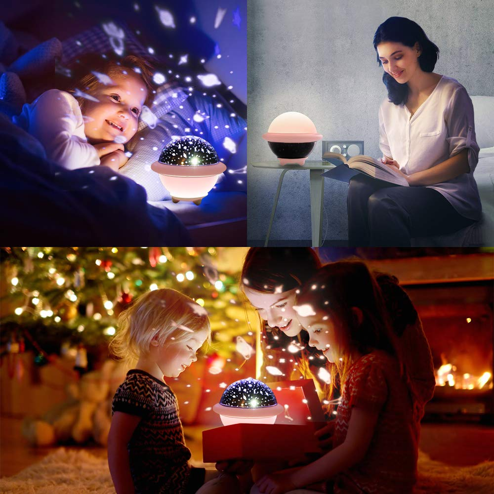 Rose SOLMORE LED Projecteur Lampe Enfant Oc/éan et Univers LED Veilleuse Enfant Luminosit/é Ajustable 6 Couleur Modes Veilleuse B/éb/é /Étoiles Lampe de Projection pour Chambre//Enfants//Cadeau