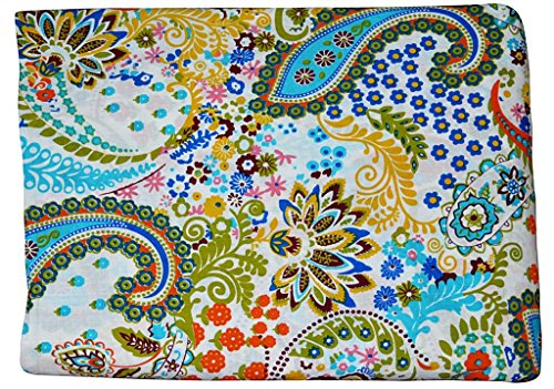 5 Yard Batik Paisley Print Cotton Fabric by Yard, Natural Dyes Sanganeri Indian Cotton Fabric Hand Block Printed Handmade Cotton Fabric (White)