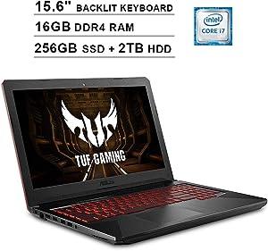 Asus 2020 FX504 15.6 Inch FHD TUF Gaming Laptop (Intel 6-Core i7-8750H up to 4.1 GHz, 16GB RAM, 1TB SSD + 2TB HDD, GeForce GTX 1050 Ti, Backlit Keyboard, WiFi, Bluetooth, HDMI, Windows 10)