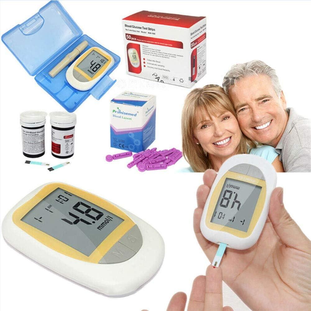 Fall Medidor de glucosa en Sangre, Diabetes Testing Kit, medidor de glucosa en Sangre con 50 Tiras de Prueba codefree, 50 lancetas, Dispositivo de punción: Amazon.es: Hogar