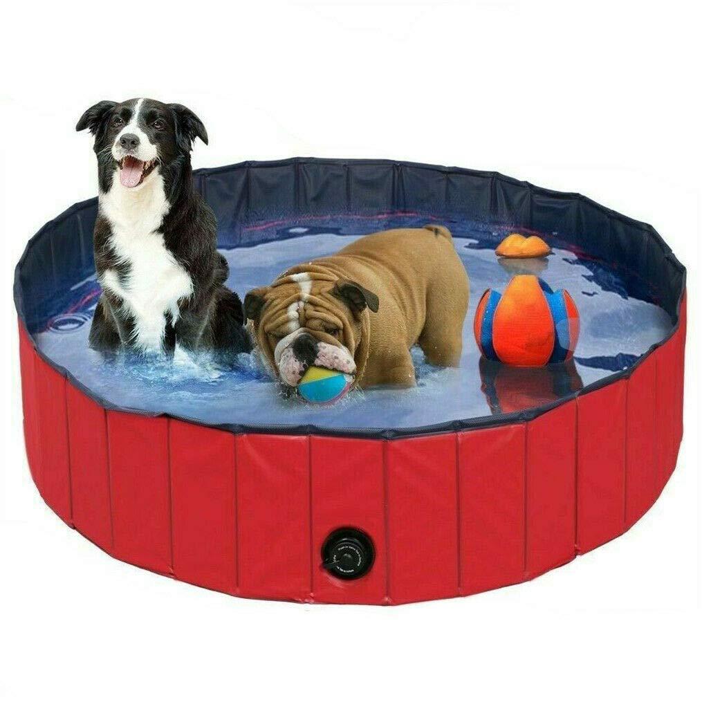 WISFORBEST Piscina Plegable para Mascotas Ba/ñera Port/átil para Perros y Gatos Material de PVC Antideslizante y Resistente Adecuado para Interior al Aire Libre 120 x 30cm