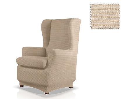 JM Textil Funda de sillón orejero elástica Simba Tamaño 1 Plaza (Estándar), Color 01