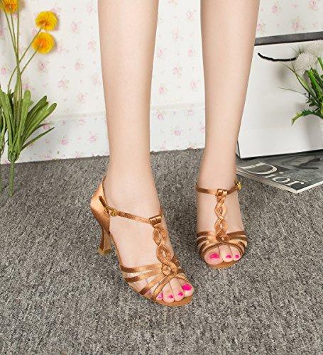 Minitoo AMM103 Womens Girls Mesh T-strap Latin Wedding Dance Sandals Brown-7.5cm Heel 7F9AN62