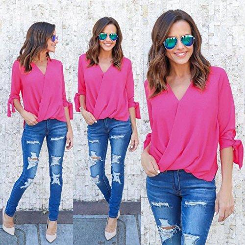 FNKDOR Las mujeres con cuello en V gasa de manga larga camiseta de las tapas de la blusa de las señoras Rosa caliente