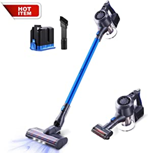 Cordless Vacuum Cleaner, SIMPFREE 22KPa Powerful Suction Lightweight Stick Vacuum, Handheld Versitile Vacuum with Digital Motor Lithium Ion Battery Brush Multi-attachments HEPA(Gray+1 Battery)