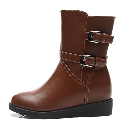Damen Winter Einfache Flache Langschaft Stiefeln Reißverschluss Runde Zehen  Riemenschnalle Klassische Stil Schuhe Braun Größe 39 a612e80b5b
