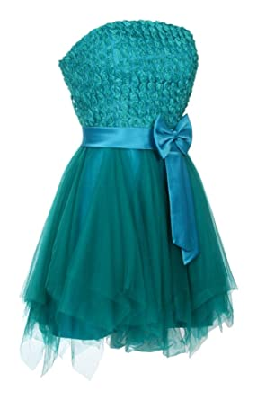 Ladies Short Layered Strapless Prom Dress Floral Bow Formal Cocktail Evening Dresses Womens Turquoise Size 18