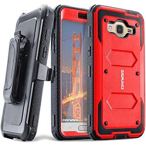 Samsung Galaxy J3 (2016)/ J3 V/Sky/ Sol/ j36/ j36V/Amp Prime/Express Prime, COVRWARE [Aegis] Built-in [Screen Protector] Heavy Duty Full-Body Rugged Holster Armor Case [Belt Clip][Kickstand], Red