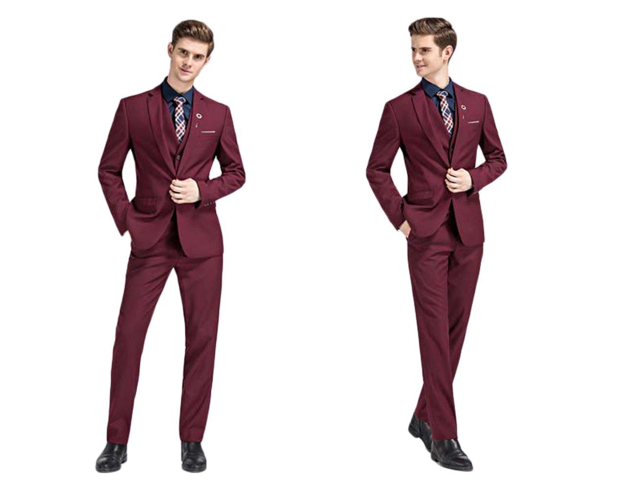 Love Dress Men's Suit 3 Piece Men Wedding Party Gown Jacket+Pant+Vest Burgundy XL