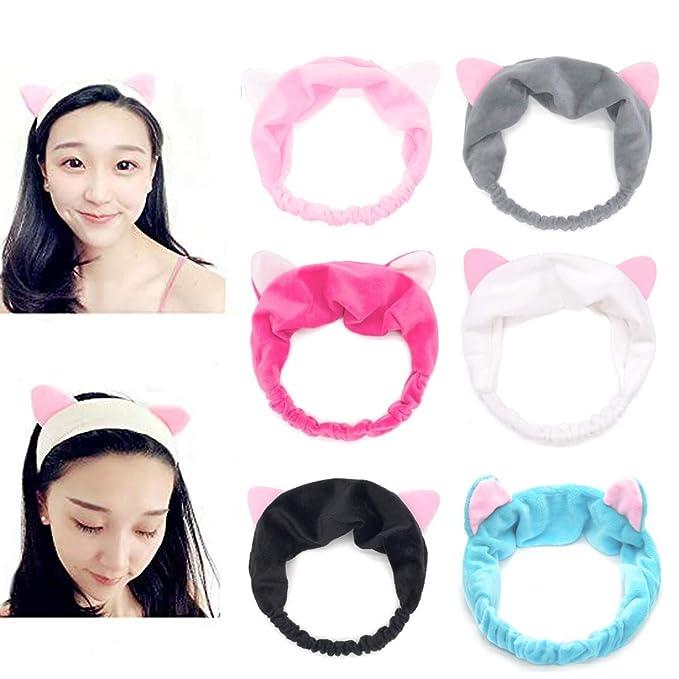Dusenly 6 diademas de orejas de gato para mujer, elásticas, para ...