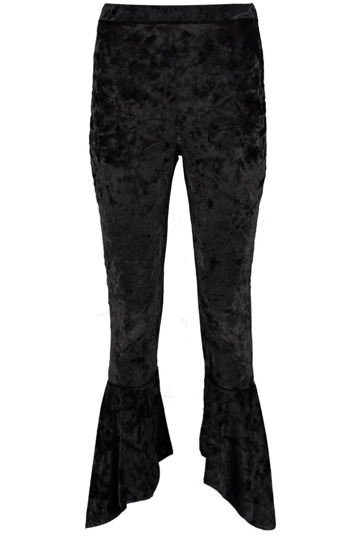 Black Womens Elle Velvet Dipped Hem Flared Trousers: Amazon.co.uk: Clothing